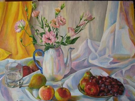 Натюрморт с цветами эустомы